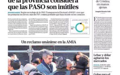 La encuesta de Transparencia Electoral en tapa del diario La Nación.
