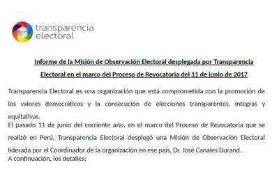 Informe Final: MOE Proceso de Revocatoria Perú 2017