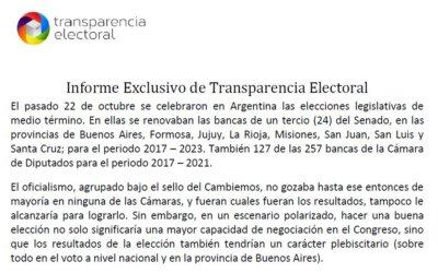Informe Exclusivo de Transparencia Electoral: Elecciones Legislativas Argentina 2017