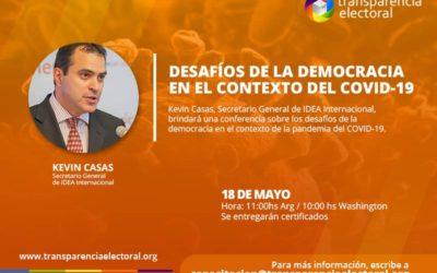 Kevin Casas, Secretario General de IDEA Internacional, brindará una charla para Transparencia Electoral