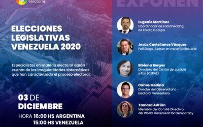 Transparencia Electoral celebrará el webinar «Elecciones Legislativas Venezuela 2020» este 3 de diciembre