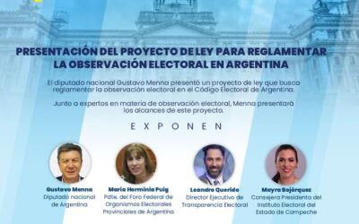 Participa en la presentación del proyecto de ley para reglamentar la observación electoral en Argentina