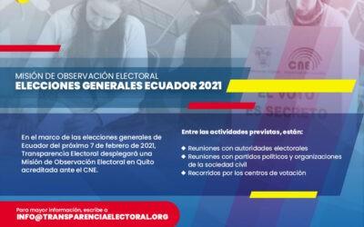 Transparencia Electoral celebrará una Misión Electoral en el marco de las elecciones generales de Ecuador 2021