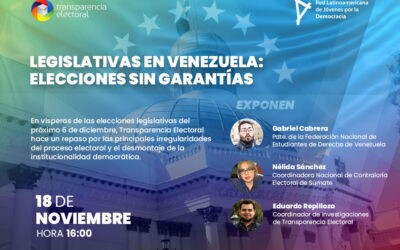 Transparencia Electoral celebró el webinar: «Legislativas en Venezuela: Elecciones sin garantías»