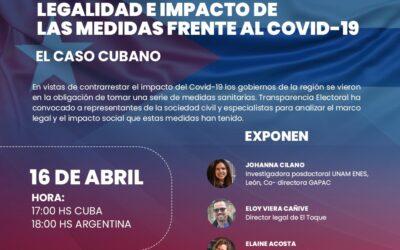 Webinar «Legalidad e impacto de las medidas frente al Covid-19: El caso cubano»