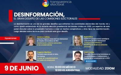 """Participa en el webinar """"Desinformación, el gran desafío de las comisiones electorales"""""""